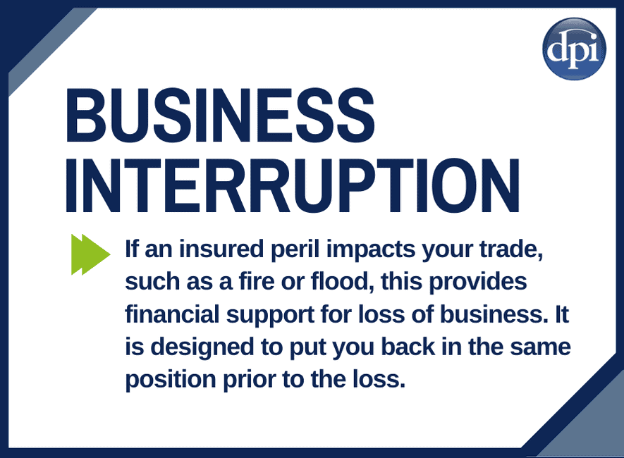 Business Interruption Cover - If an insured peril impacts your trade, such as a fire or flood, this provides financial support for loss of business. It is designed to put you back in the same position prior to the loss.