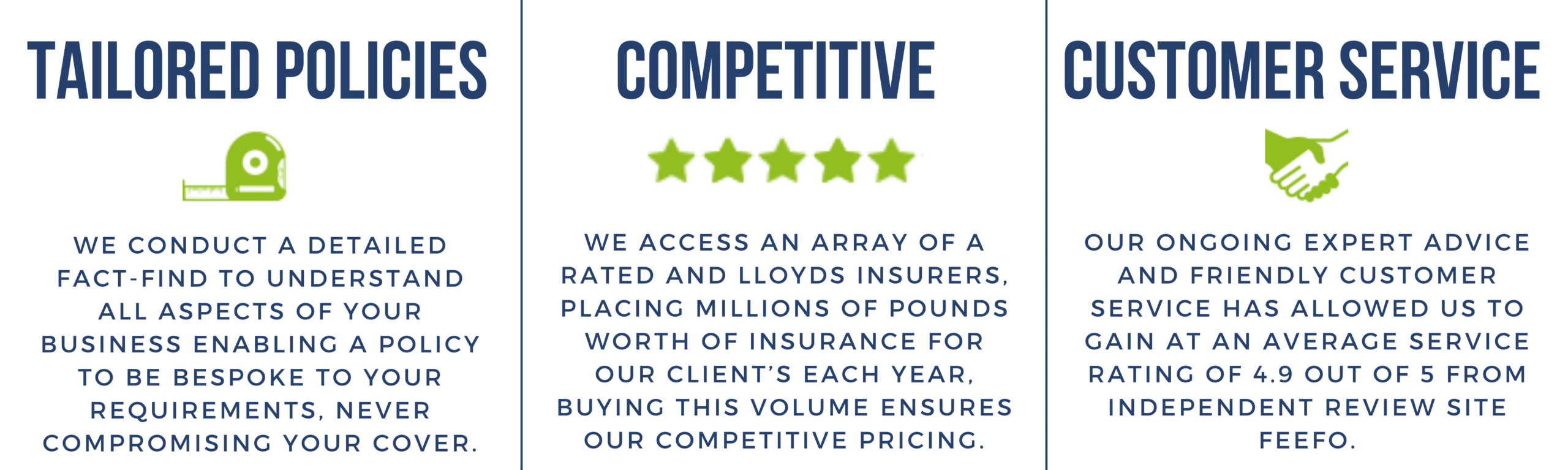 Why choose DPI Insurance - Tailored Policies, Competitive Prices and Customer Service