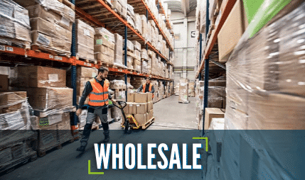 A wholesale warehouse with packaged products on shelf racking